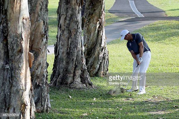 Martin Rominger of Switzerland plays his 2nd shot on the 1st hole during the 3rd round of the 2014 Hong Kong open at The Hong Kong Golf Club on...