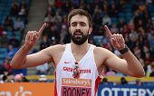 Martin Rooney celebrates after winning the Men's 400m final during the Sainsbury's British Championships Birmingham Day Three at Birmingham Alexander...