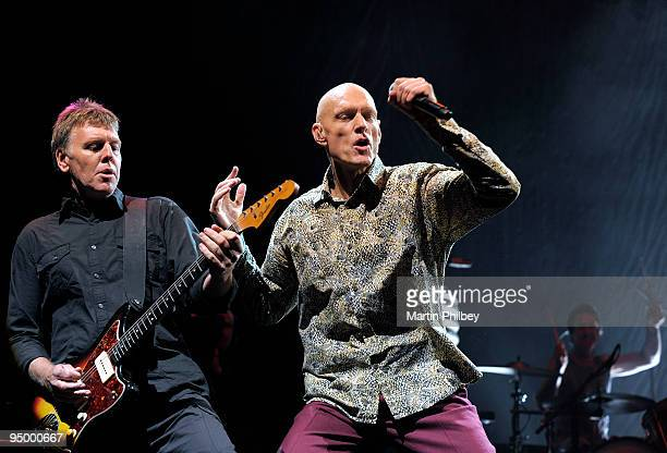Martin Rotsey and Peter Garrett of Midnight Oil perform on stage at the Sound Relief Bushfire Benefit Concert on March 14th 2009 in Melbourne...
