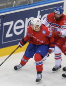 Martin Roymark and Jakub Kindl of Czech Republic watchs the puck during the 2014 IIHF World Championship between Czech Republic and Norway at...