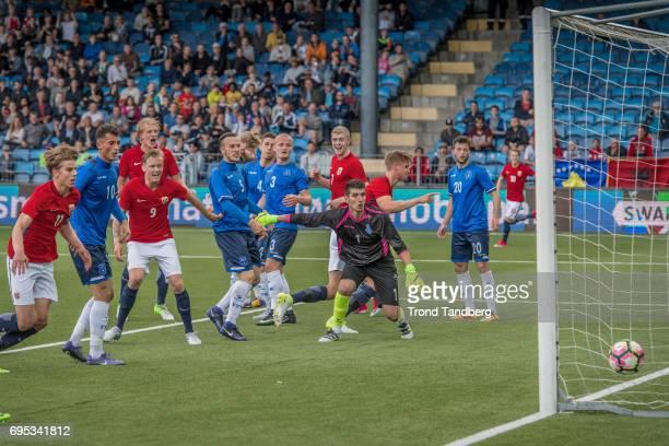 Martin Samuelsen Birk Risa Morten Thorsby Henrik Bjordal of Norway during the Qualifying Round European Under 21 Championship 2019 between Norway v...