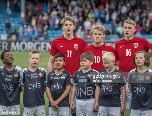 Martin Samuelsen Martin Odegaard Ulrik Jenssen of Norway before the Qualifying Round European Under 21 Championship 2019 between Norway v Kosovo at...