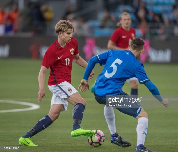 Martin Samuelsen of Norway Ardian Ismajli of Kosovo during the Qualifying Round European Under 21 Championship 2019 between Norway v Kosovo at...