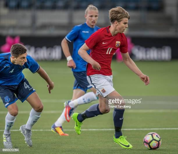 Martin Samuelsen of Norway Besfort Kolgeci of Kosovo during the Qualifying Round European Under 21 Championship 2019 between Norway v Kosovo at...