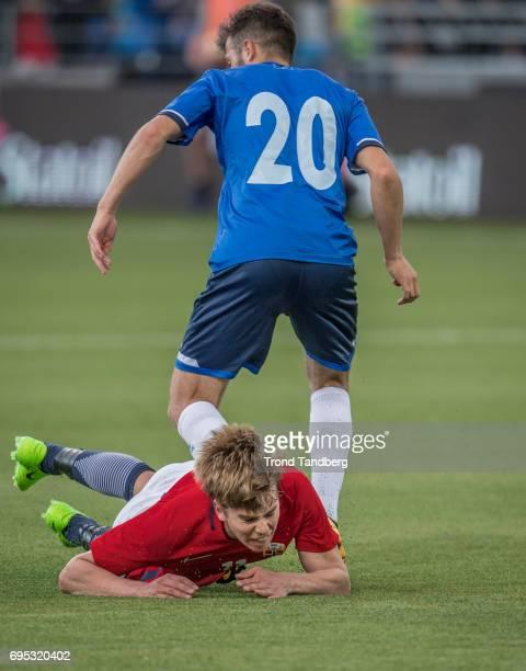 Martin Samuelsen of Norway Kamer Krasniqi of Kosovo during the Qualifying Round European Under 21 Championship 2019 between Norway v Kosovo at...