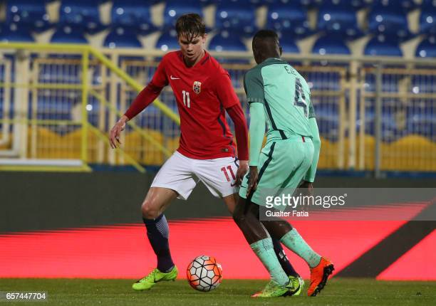 Martin Samuelsen of Norway with Portugal defender Edgar Ie in action during the U21 International Friendly match between Portugal and Norway at...
