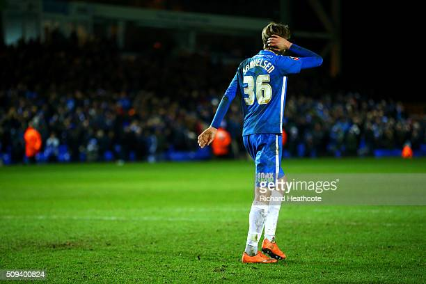 Martin Samuelsen of Peterborough reacts after missing his penalty during the penalty shootout in the Emirates FA Cup fourth round replay match...