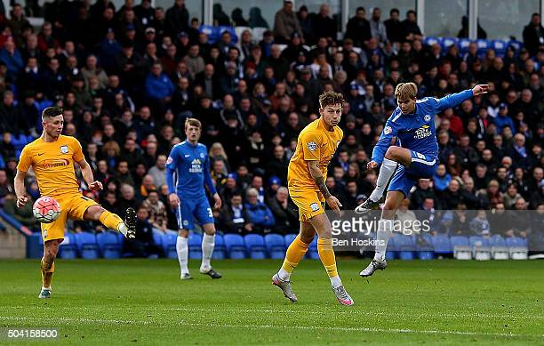 Martin Samuelsen of Peterborough scores the opening goal of the game during the FA Cup Third Round match between Peterborough United and Preston...