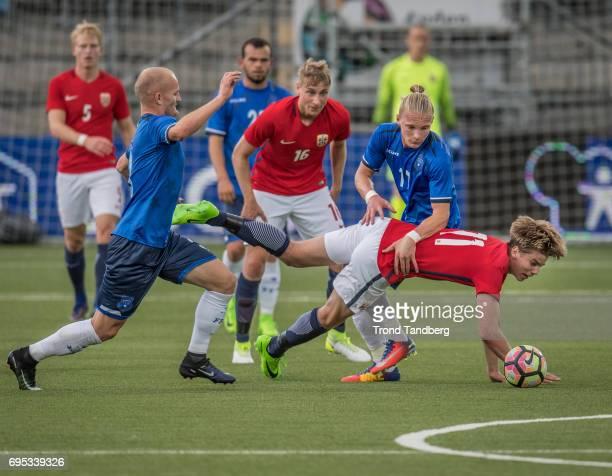 Martin Samuelsen Ulrik Jenssen Andreas HancheOlsen of Norway during the Qualifying Round European Under 21 Championship 2019 between Norway v Kosovo...