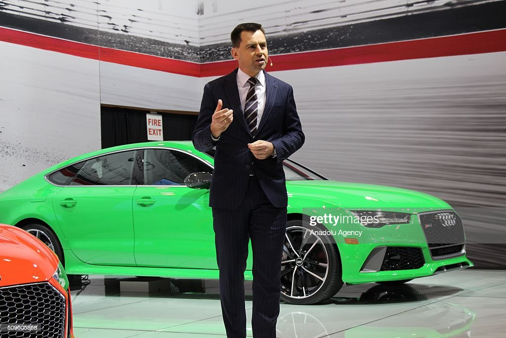 Martin Sander, vice-president, sales, Audi North America delivers a speech during the Canada Auto Show at Toronto Metro Convention Center in Toronto, Canada on February 11, 2016.