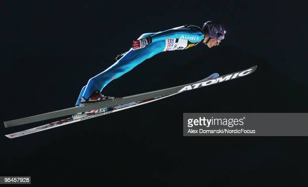 Martin Schmitt of Germany competes during the FIS Ski Jumping World Cup event at the 58th Four Hills Ski Jumping Tournament on December 28 2009 in...