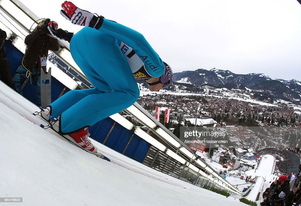 Martin Schmitt of Germany competes in the training round for the FIS Ski Jumping World Cup event at the 58th Four Hills ski jumping tournament at Erdinger Arena on December 28, 2009 in Oberstdorf, Germany.