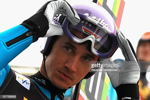 Martin Schmitt of Germany looks on prior to the training round for the FIS Ski Jumping World Cup event at the 59th Four Hills ski jumping tournament...