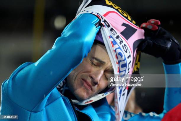 Martin Schmitt of Germany reacts after the final round for the FIS Ski Jumping World Cup event at the 58th Four Hills ski jumping tournament at...
