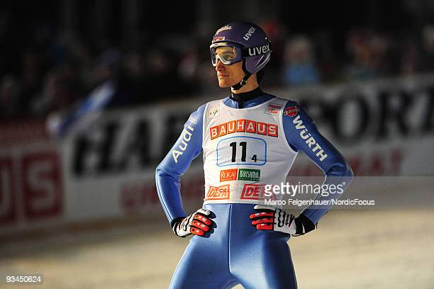 Martin Schmitt of Germany reacts during the HS 142 team event of the FIS Ski Jumping World Cup on November 27 2009 in Kuusamo Finland