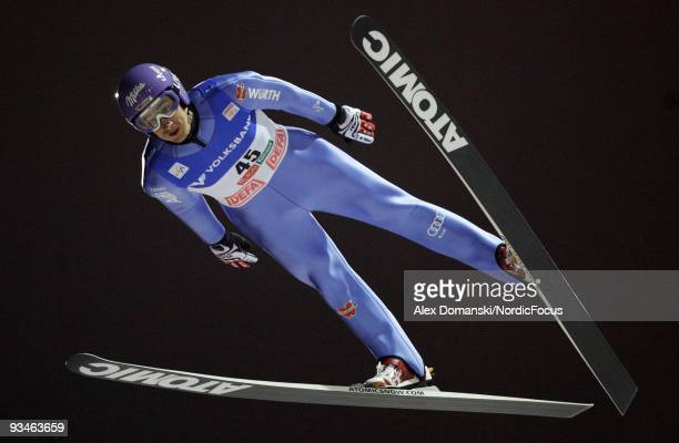 Martin Schmitt of Germany soars through the air during the individual HS 142 event of the FIS Ski Jumping World Cup on November 28 2009 in Kuusamo...