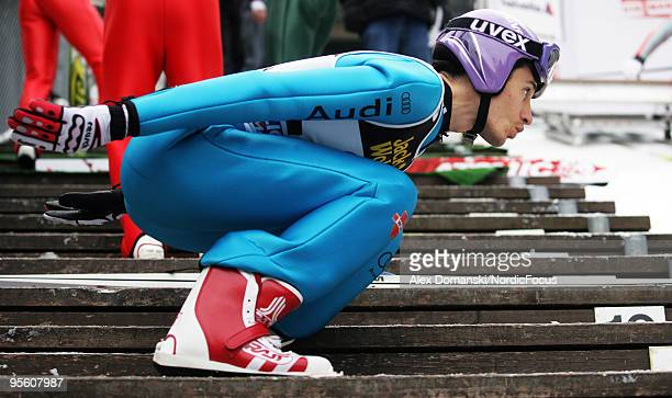Martin Schmitt of Germany warms up during the FIS Ski Jumping World Cup event at the 58th Four Hills Ski Jumping Tournament on January 06 2010 in...
