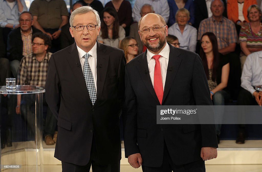 <a gi-track='captionPersonalityLinkClicked' href=/galleries/search?phrase=Martin+Schulz&family=editorial&specificpeople=598638 ng-click='$event.stopPropagation()'>Martin Schulz</a> (R), a Social Democrat and President of the European Parliament, and <a gi-track='captionPersonalityLinkClicked' href=/galleries/search?phrase=Jean-Claude+Juncker&family=editorial&specificpeople=207032 ng-click='$event.stopPropagation()'>Jean-Claude Juncker</a>, a member of the Christian Social People's Party and former prime minister of Luxembourg, pose prior to a television debate on ARD on May 20, 2014 in Hamburg, Germany. The two men are running for the position of European Union Commissioner and so far Schulz has a strong lead over Juncker. European Union member states will hold parliamentary election from May 22-25.