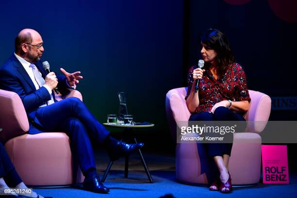 Martin Schulz and Brigitte Huber speak on stage during the Brigitte Live talk at Maxim Gorki Theater on June 12 2017 in Berlin Germany