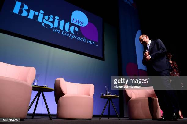 Martin Schulz arrives for the Brigitte Live talk at Maxim Gorki Theater on June 12 2017 in Berlin Germany
