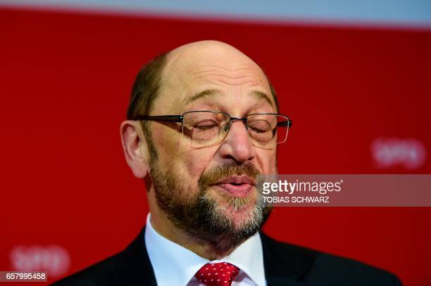 Martin Schulz candidate for Chancellor of Germany's Social Democratic Party addresses supporters after exit poll results of the state election in...
