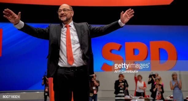 Martin Schulz chairman of Germany's social democratic SPD party and candidate for chancellor thanks his supporters after giving a speech during an...