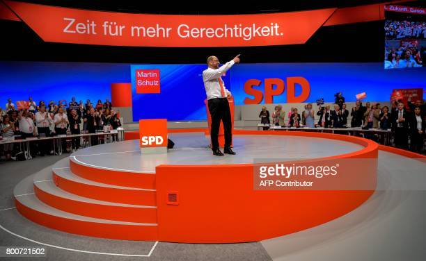 Martin Schulz chairman of Germany's social democratic SPD party and candidate for chancellor gestures after giving a speech during an SPD party...
