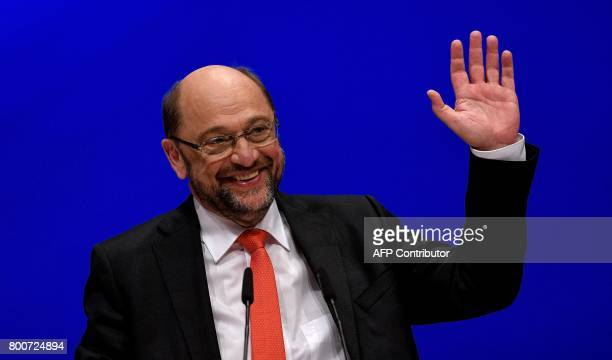 Martin Schulz chairman of Germany's social democratic SPD party and candidate for chancellor waves during an SPD party congress in Dortmund western...