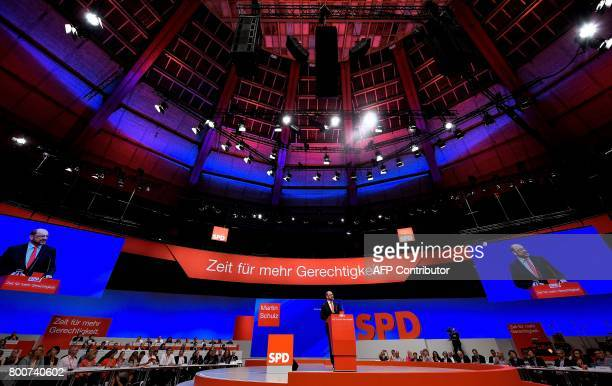 Martin Schulz chairman of Germany's social democratic SPD party and candidate for chancellor gives a speech during a congress of the SPD party in...