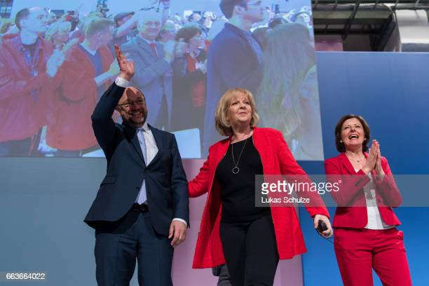 Martin Schulz Chairman of the German Social Democrats and SPD chancellor candidate SPD lead candidate in North RhineWestphalia Hannelore Kraft and...