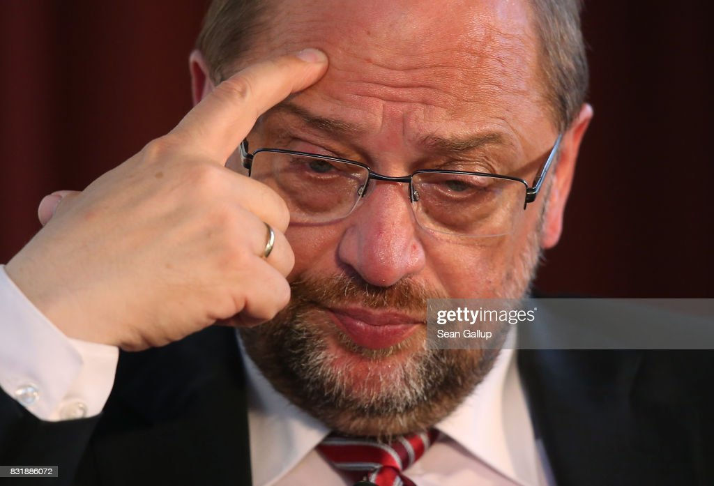 Martin Schulz, chancellor candidate of the German Social Democrats (SPD), attends a panel discussion on immigration and integration at an event co-hosted by the Berlin Inistitute for Empirical Integration and Migration Research on August 15, 2017 in Berlin, Germany. Schulz will face German Chancellor Angela Merkel, who is seeking a fourth term, in federal elections scheduled for September 24. Immigration has been a big political issue in Germany, especially since the wave of migrants and refugees arrived in 2015-2016.