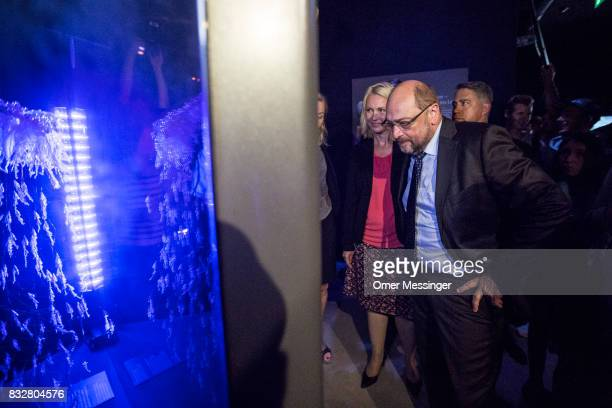 Martin Schulz chancellor candidate of the German Social Democrats and Governor of MecklenburgWestern Pomerania Manuela Schwesig are seen taking a...