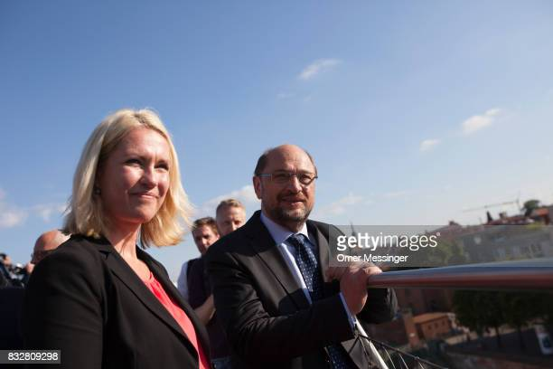 Martin Schulz chancellor candidate of the German Social Democrats and Governor of MecklenburgWestern Pomerania Manuela Schwesig are seen inspecting...