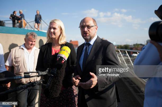 Martin Schulz chancellor candidate of the German Social Democrats and Governor of MecklenburgWestern Pomerania Manuela Schwesig are seen speaking to...