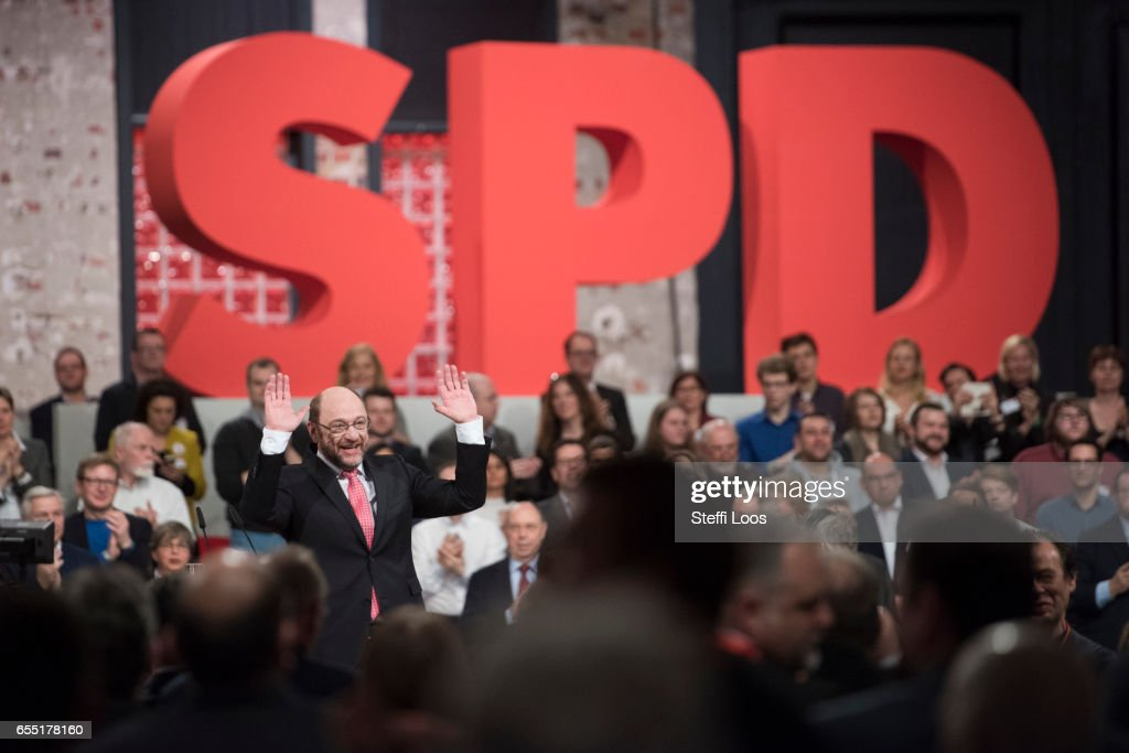 Martin Schulz, chancellor candidate of the German Social Democrats (SPD) reacts at a Federal Party Congress on March 19, 2017 in Berlin, Germany. Schulz, who announced his candidacy in January has since seen strong support in recent polls and will be officially nominated at the congress. Germany is scheduled to hold federal elections in September.