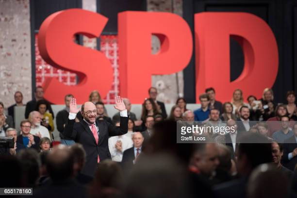 Martin Schulz chancellor candidate of the German Social Democrats reacts at a Federal Party Congress on March 19 2017 in Berlin Germany Schulz who...