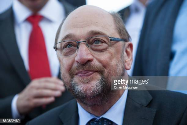 Martin Schulz chancellor candidate of the German Social Democrats is seen during an election campaign stop on August 16 2017 in Stralsund Germany...
