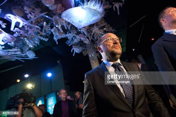 Martin Schulz chancellor candidate of the German Social Democrats is seen walking under an exhibit during a tour at the Ozeanum in the German city of...