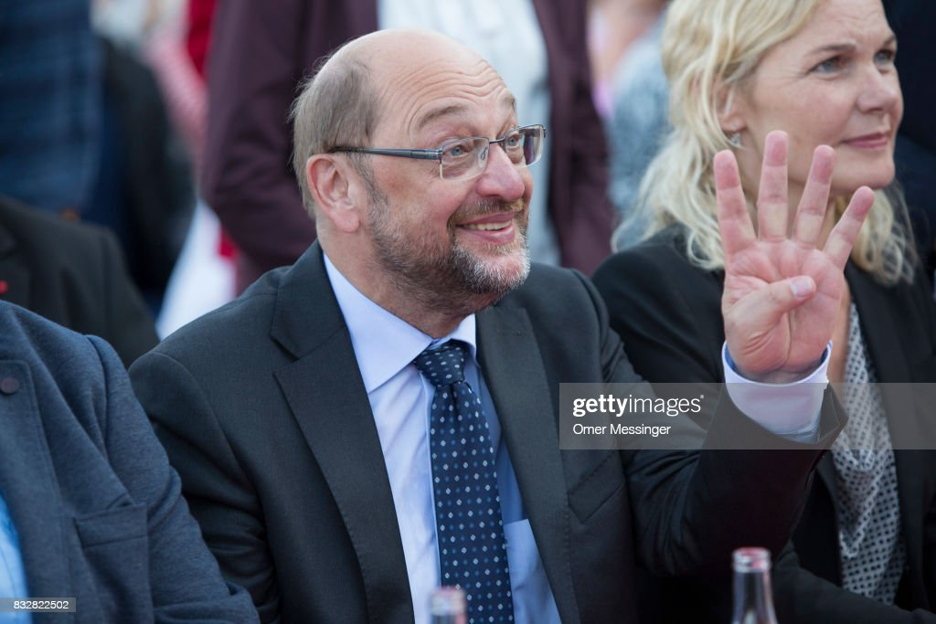 Martin Schulz, chancellor candidate of the German Social Democrats (SPD), is seen gesturing during an election campaign stop on August 16, 2017 in Stralsund, Germany. Germany is scheduled to hold federal elections on September 24 and Schulz is currently approximately 14 points behind his rival, German Christian Democrat (CDU) and current German Chancellor Angela Merkel, who is seeking a fourth term as chancellor.