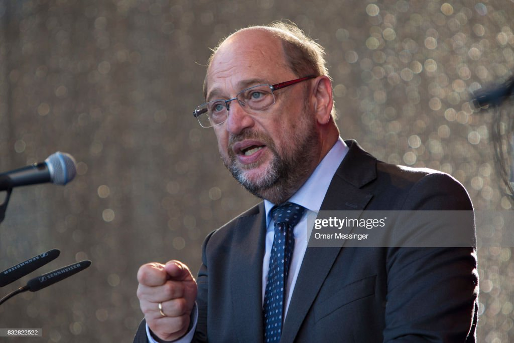 Martin Schulz, chancellor candidate of the German Social Democrats (SPD), is seen making a speech, during an election campaign stop on August 16, 2017 in Stralsund, Germany. Germany is scheduled to hold federal elections on September 24 and Schulz is currently approximately 14 points behind his rival, German Christian Democrat (CDU) and current German Chancellor Angela Merkel, who is seeking a fourth term as chancellor.