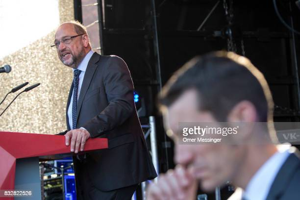 Martin Schulz chancellor candidate of the German Social Democrats is seen making a speech during an election campaign stop on August 16 2017 in...