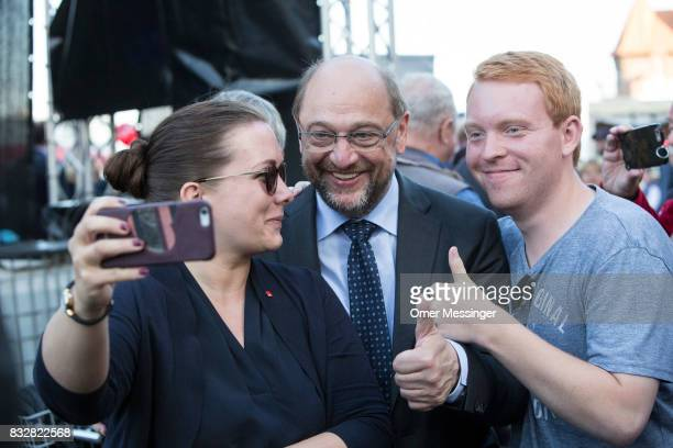 Martin Schulz chancellor candidate of the German Social Democrats Is seen taking a 'Selfie' with supporters during an election campaign stop on...