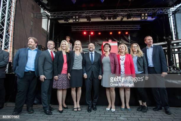 Martin Schulz chancellor candidate of the German Social Democrats is seen posing for a photo with other SPD party members among them Governor of...