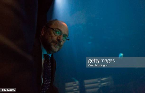 Martin Schulz chancellor candidate of the German Social Democrats is seenduring a tour at the Ozeanum in the German city of Stralsund as part of an...