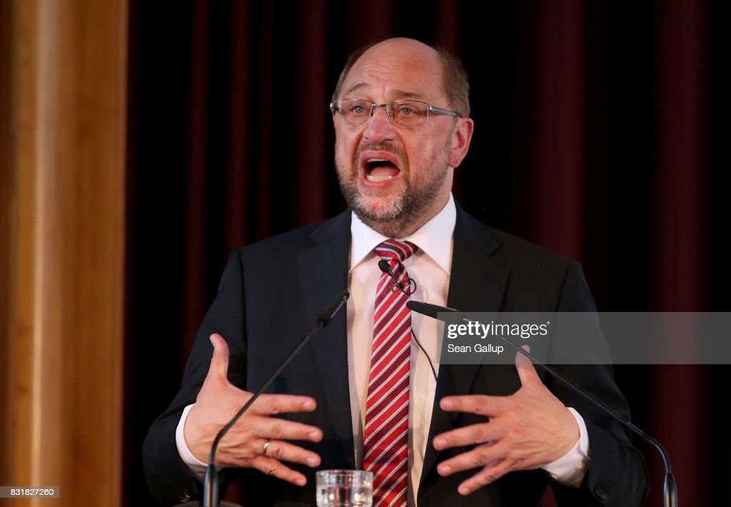 Martin Schulz, chancellor candidate of the German Social Democrats (SPD), speaks on immigration and integration at an event co-hosted by the Berlin Inistitute for Empirical Integration and Migration Research on August 15, 2017 in Berlin, Germany. Schulz will face German Chancellor Angela Merkel, who is seeking a fourth term, in federal elections scheduled for September 24. Immigration has been a big political issue in Germany, especially since the wave of migrants and refugees arrived in 2015-2016.