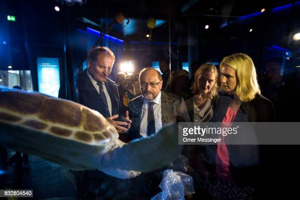 Martin Schulz chancellor candidate of the German Social Democrats SPD party member Sonja Steffen and Governor of MecklenburgWestern Pomerania Manuela...