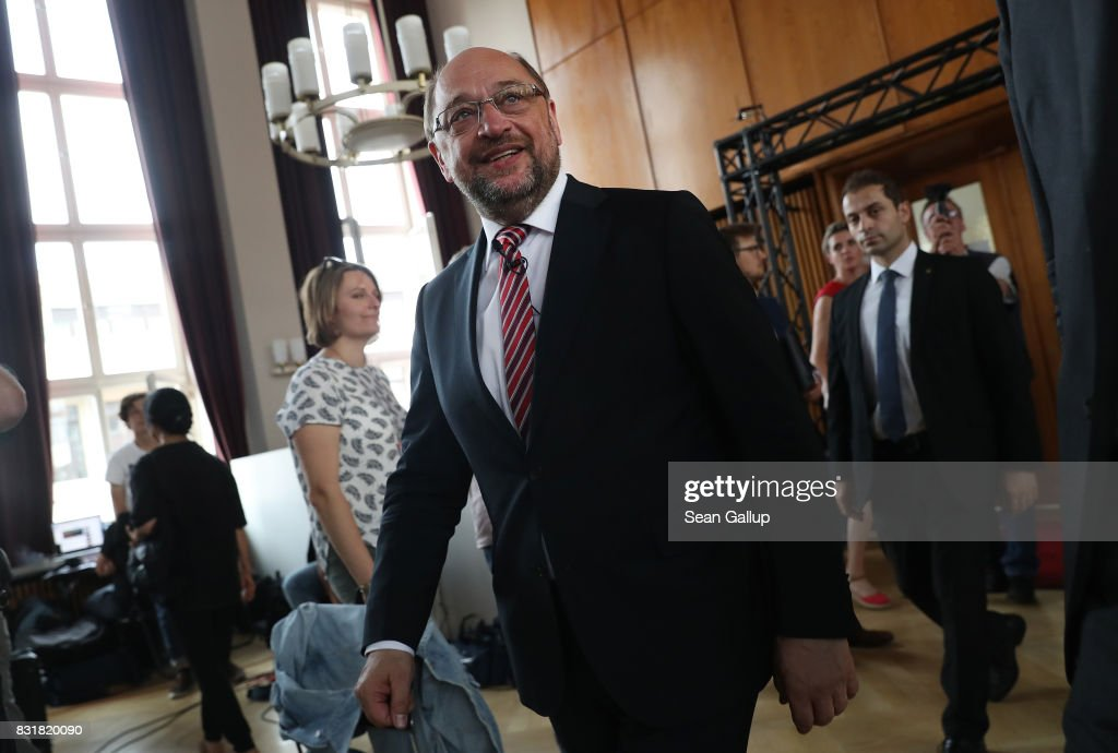Martin Schulz, chancellor candidate of the German Social Democrats (SPD), arrives to speak on immigration and integration at an event co-hosted by the Berlin Inistitute for Empirical Integration and Migration Research on August 15, 2017 in Berlin, Germany. Schulz will face German Chancellor Angela Merkel, who is seeking a fourth term, in federal elections scheduled for September 24. Immigration has been a big political issue in Germany, especially since the wave of migrants and refugees arrived in 2015-2016.