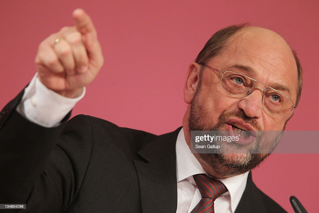 Martin Schulz, German Social Democrat (SPD) and member of the European Parliament, speaks at the SPD annual federal party congress on December 4, 2011 in Berlin, Germany. The SPD is Germany's biggest opposition party and has seen its popularity rise in the last year as the current German government coalition of Christian Democrats and Free Democrats has faced political stumbling blocks.