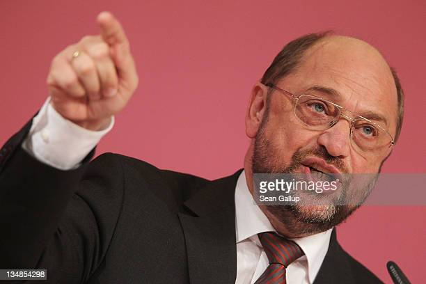 Martin Schulz German Social Democrat and member of the European Parliament speaks at the SPD annual federal party congress on December 4 2011 in...