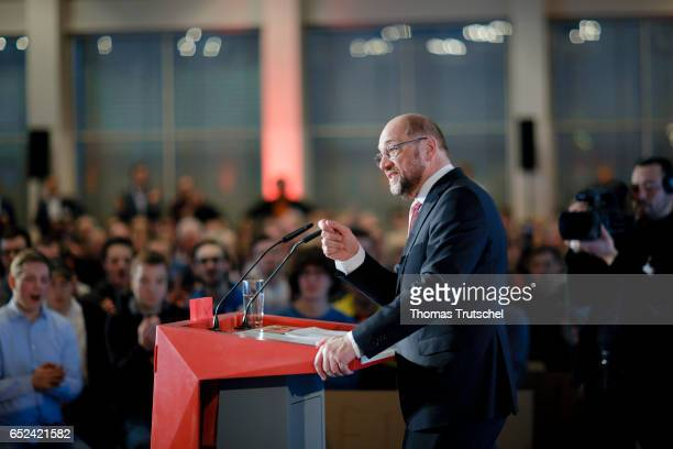 Martin Schulz german social democrats party top candidate for 2017 federal election speaks to members of his party on March 12 2017 in Kamen Germany